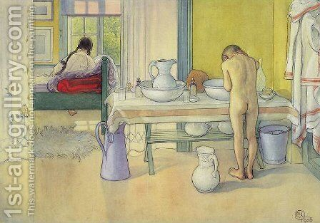 Summer Morning (at Spardavet) by Carl Larsson - Reproduction Oil Painting