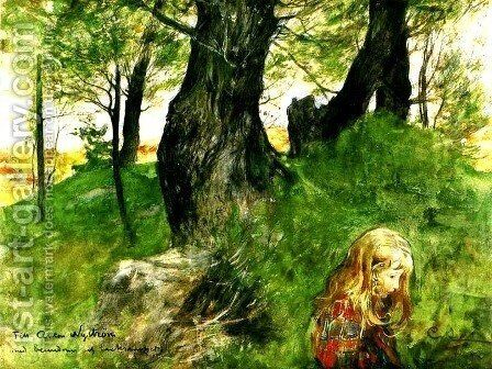 Suzanne In The Woods by Carl Larsson - Reproduction Oil Painting