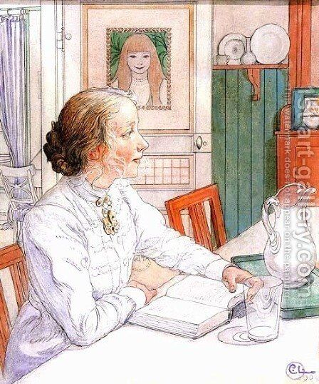 Suzanne With Milk And Book by Carl Larsson - Reproduction Oil Painting