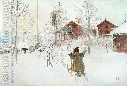 The  Front Yard And The Wash House by Carl Larsson - Reproduction Oil Painting