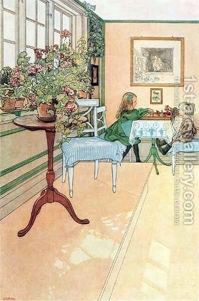The Chess Game by Carl Larsson - Reproduction Oil Painting