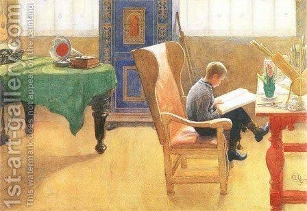 The Corner Study by Carl Larsson - Reproduction Oil Painting