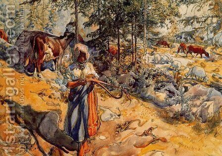 The Cowgirl in the meadow by Carl Larsson - Reproduction Oil Painting