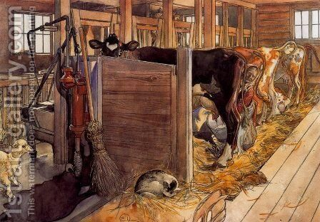The Cowshed by Carl Larsson - Reproduction Oil Painting