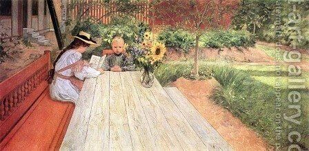 The First Lesson by Carl Larsson - Reproduction Oil Painting