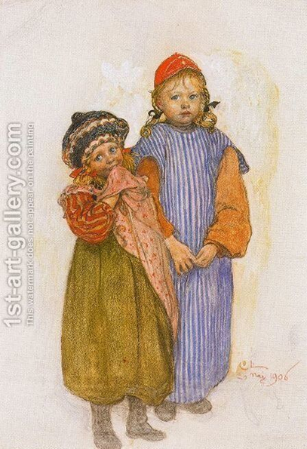 The Girls of the carpenter Helberg by Carl Larsson - Reproduction Oil Painting