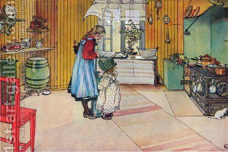 The Kitchen by Carl Larsson - Reproduction Oil Painting