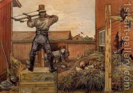 The Manure Pile by Carl Larsson - Reproduction Oil Painting