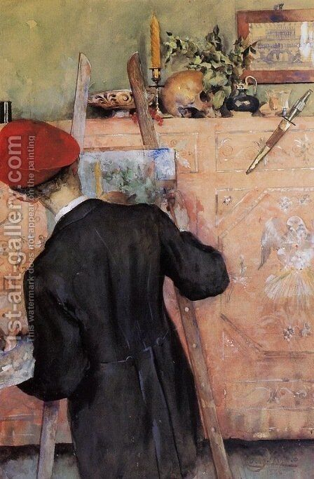The Still Life Painter 2 by Carl Larsson - Reproduction Oil Painting