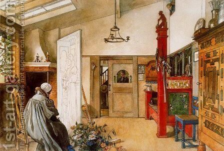 The Study by Carl Larsson - Reproduction Oil Painting