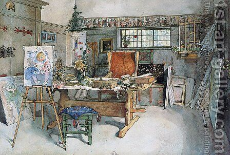 The Study 2 by Carl Larsson - Reproduction Oil Painting