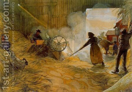 The Threshing of the grain by Carl Larsson - Reproduction Oil Painting