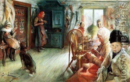 The Winter Cottage by Carl Larsson - Reproduction Oil Painting