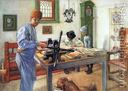 Where I Do My Etching by Carl Larsson - Reproduction Oil Painting