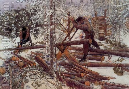 Woodcutters in the forest by Carl Larsson - Reproduction Oil Painting