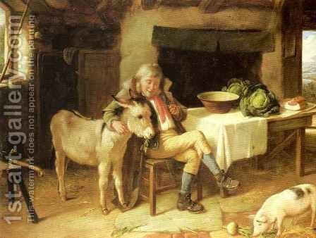 A Pat for the Donkey by Charles Hunt - Reproduction Oil Painting