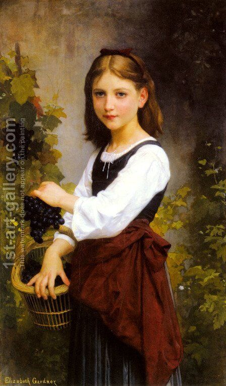 Young Girl Holding a Basket of Grapes (detail) by Elizabeth Jane Gardner Bouguereau - Reproduction Oil Painting