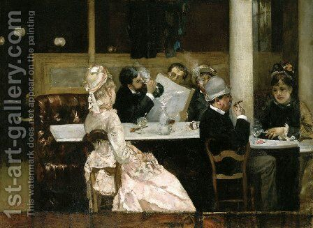 Cafe Scene in Paris 1877 by Henri Gervex - Reproduction Oil Painting
