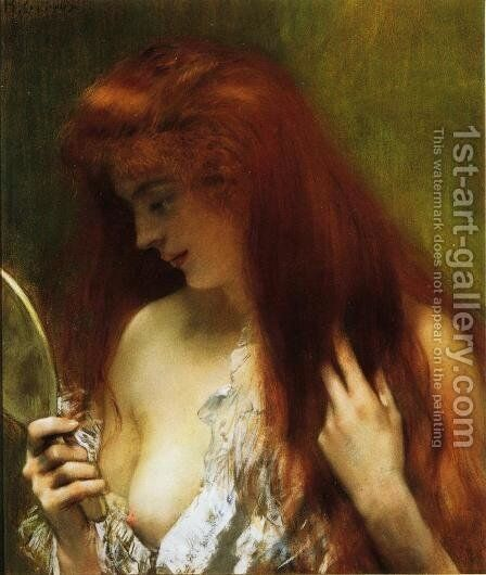 Young Red Head Gooming Herself by Henri Gervex - Reproduction Oil Painting