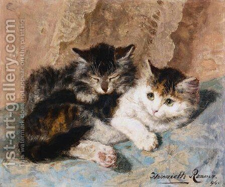 Best of friends by Henriette Ronner-Knip - Reproduction Oil Painting