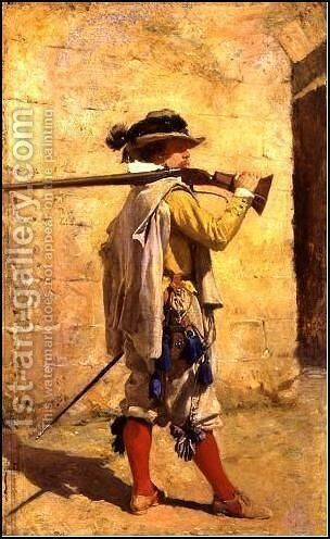 The arquebusier by Jean-Louis-Ernest Meissonier - Reproduction Oil Painting