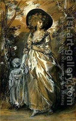 A Lady Walking in a Garden with a Child by Thomas Gainsborough - Reproduction Oil Painting