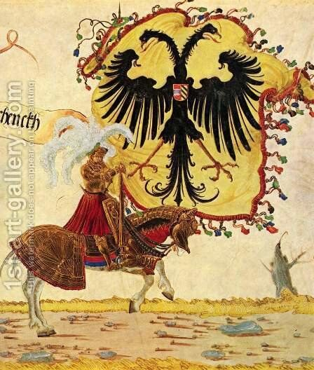 Emperor Maximilian triumph, Reich banners and imperial sword by Albrecht Altdorfer - Reproduction Oil Painting