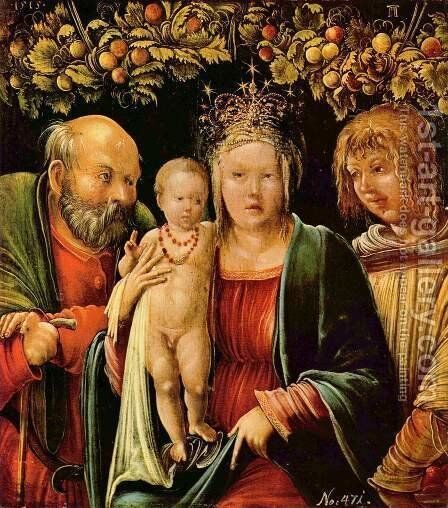 Holy family with an angel by Albrecht Altdorfer - Reproduction Oil Painting