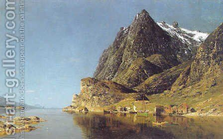 View of a fjord 2 by Adelsteen Normann - Reproduction Oil Painting