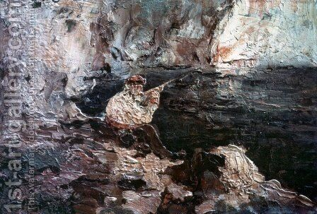 Fisherman by Adolphe Joseph Thomas Monticelli - Reproduction Oil Painting