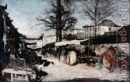 The market at Marseille by Adolphe Joseph Thomas Monticelli - Reproduction Oil Painting