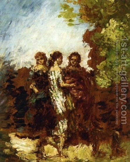 Three Friends by Adolphe Joseph Thomas Monticelli - Reproduction Oil Painting