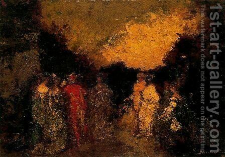 Walk at dusk in a park by Adolphe Joseph Thomas Monticelli - Reproduction Oil Painting