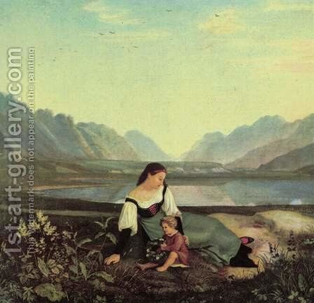Girls on the meadow, Inntal with resound by Adrian Ludwig Richter - Reproduction Oil Painting