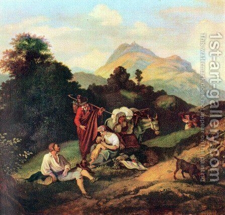 Italian landscape with resting wanderers by Adrian Ludwig Richter - Reproduction Oil Painting