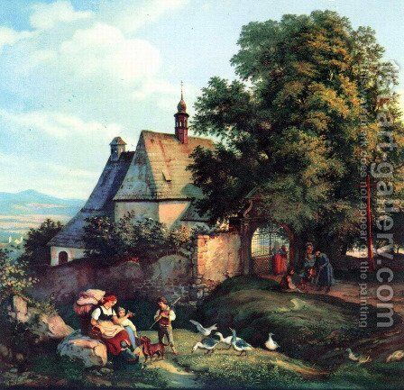 St. Annen church to barley groats in Bohemia by Adrian Ludwig Richter - Reproduction Oil Painting
