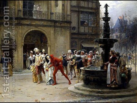 A Masquerade in XVII century by Adrien Moreau - Reproduction Oil Painting