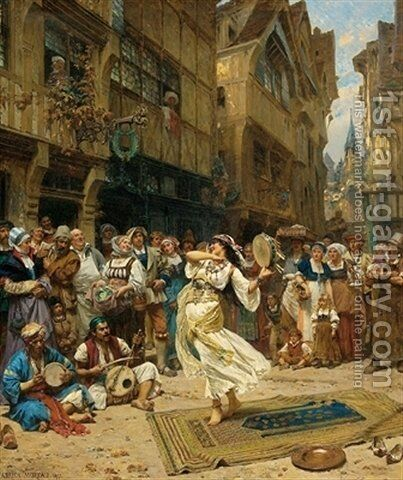 Dancing gypsy by Adrien Moreau - Reproduction Oil Painting