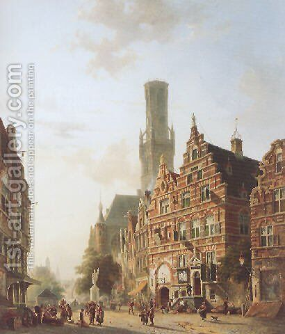 The Belfry at Bruges by Adrianus Eversen - Reproduction Oil Painting