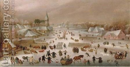 A Winter Landscape With Skaters On A Frozen River 2 by Abel Grimmer - Reproduction Oil Painting