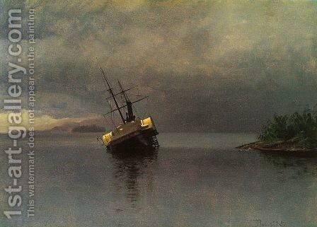 Ship sailing to the storm by Albert Bierstadt - Reproduction Oil Painting