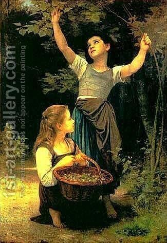 Collecting Hazlenuts by William-Adolphe Bouguereau - Reproduction Oil Painting