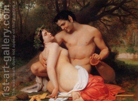 Faun and Bacchante by William-Adolphe Bouguereau - Reproduction Oil Painting