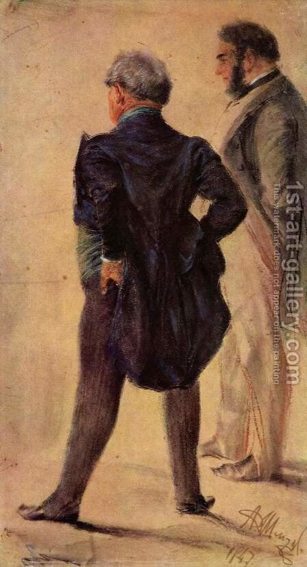 Art viewer by Adolph von Menzel - Reproduction Oil Painting