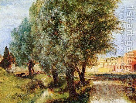 Construction site with willows by Adolph von Menzel - Reproduction Oil Painting