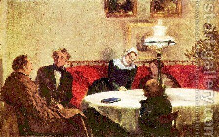 Dinner party by Adolph von Menzel - Reproduction Oil Painting