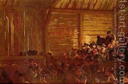 Folk theatre in Tyrol by Adolph von Menzel - Reproduction Oil Painting