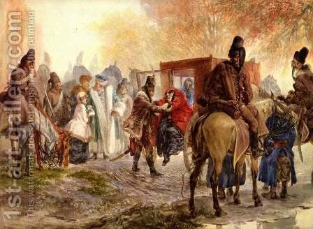 Hussars bring a Polish family by Adolph von Menzel - Reproduction Oil Painting