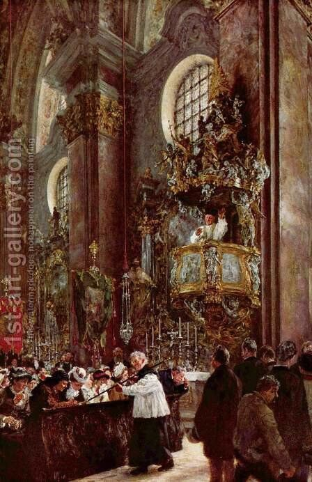 Pulpit sermon at the church at Innsbruck by Adolph von Menzel - Reproduction Oil Painting