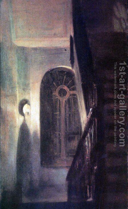 Stair hall lighting at night by Adolph von Menzel - Reproduction Oil Painting
